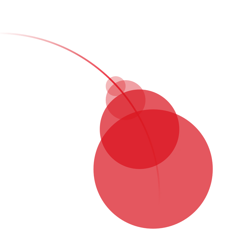4 red balls with growing size connected by a thin line
