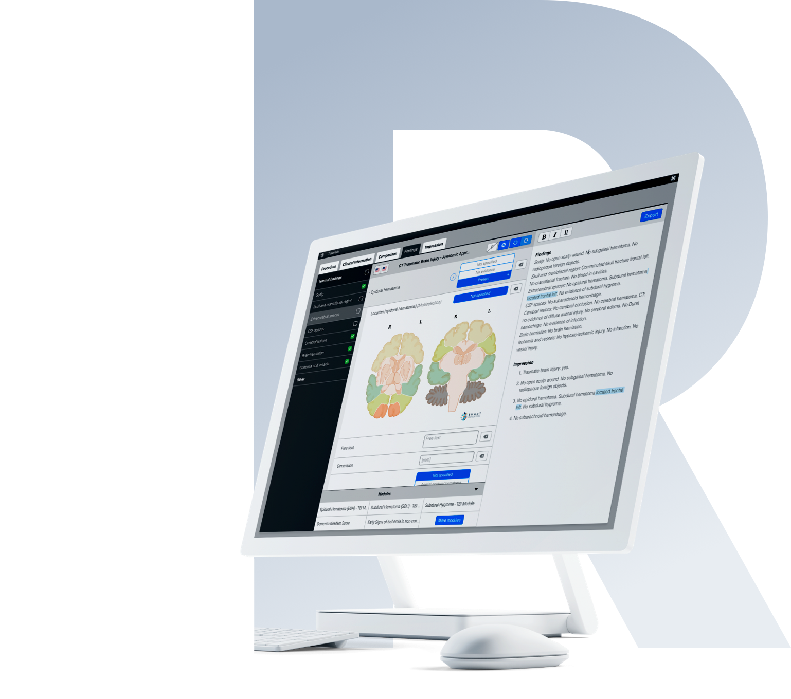 Screen with creation of a structured Report of the brain using infoboxes and sketch elements