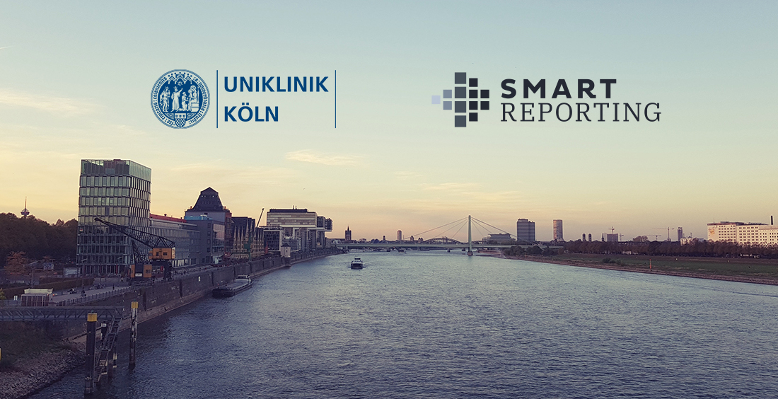 Cologne with the Logos of University hospital of Cologne and Smart Reporting