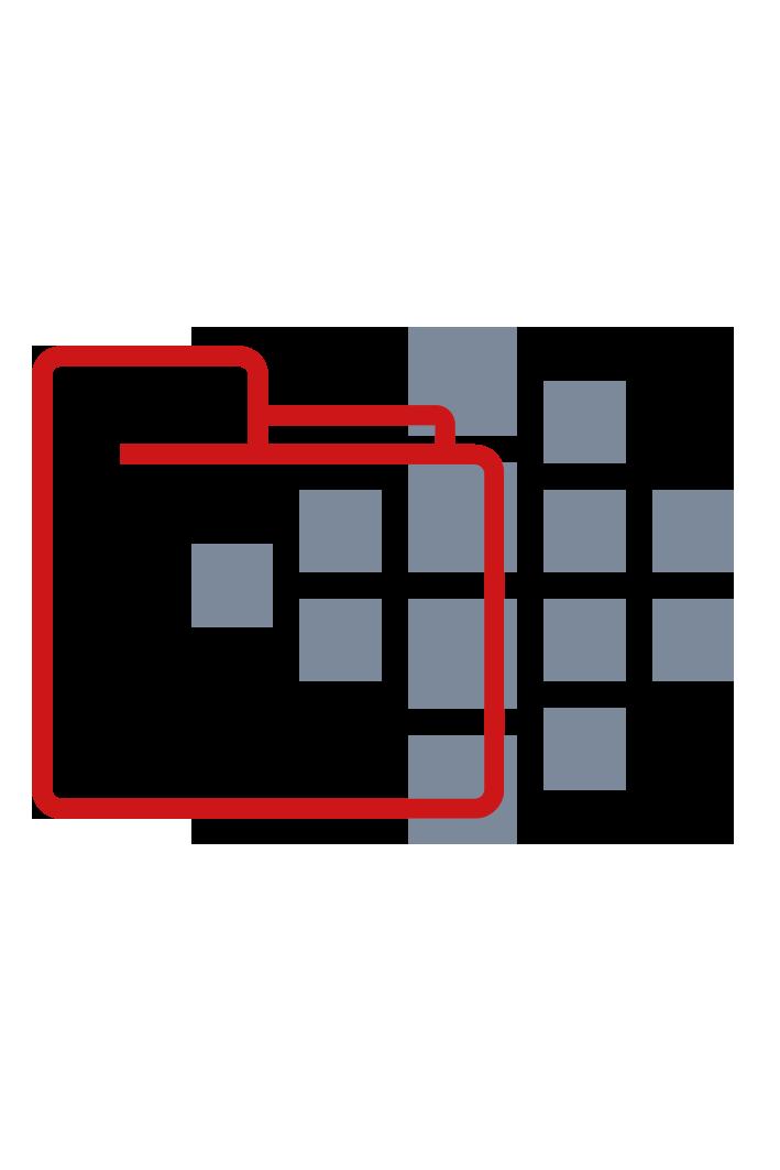 roter Ordner mit Smart Reporting Logo im Hintergrund