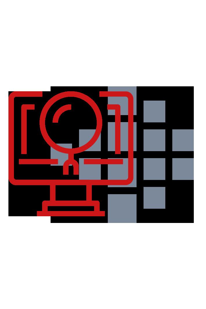 rotes icon eines Computers mit Smart Reporting Logo im Hintergrund