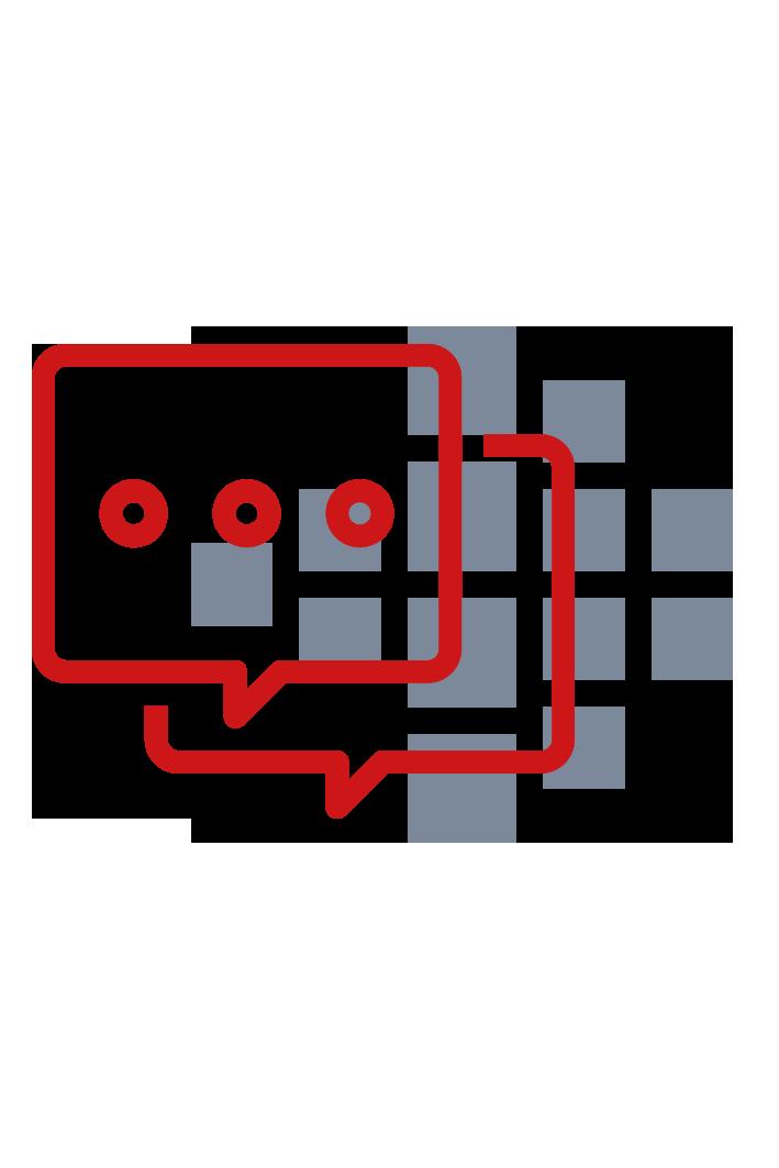 rote Sprechblasen mit Smart Reporting Logo im Hintergrund