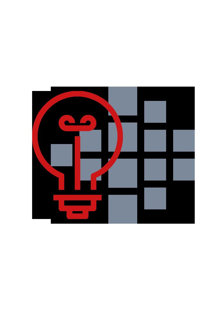 Glühbirne als Ideensymbol mit Smart Reporting Logo im Hintergrund