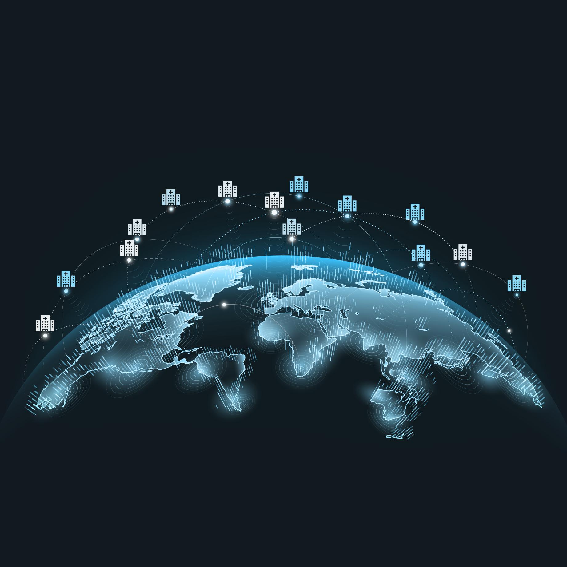 halbe Weltkugel mit kleinen Haus-Symbolen darüber schwebend die Standorte symbolisieren sollen